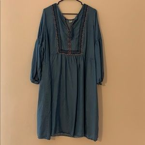 Bubble sleeve blue Jean dress